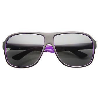 Mens Flat Top Plastic Neon Two-Toned Aviator Sunglasses