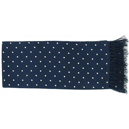 Michelsons av London Polka Dot Narrow Silk Scarf - Navy