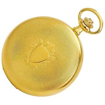 Woodford Gold Plated Arabic Engine Turned Full Hunter Mechanical Pocket Watch - Gold