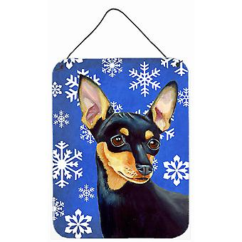 Min Pin Winter Snowflakes Holiday Aluminium Metal Wall or Door Hanging Prints