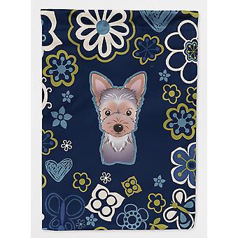 Carolines skatter BB5083GF blå blomster Yorkie dukke flagg hage størrelse