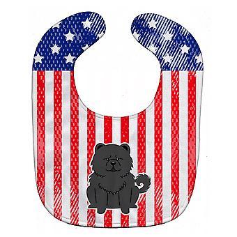 Carolines Treasures  BB3138BIB Patriotic USA Chow Chow Black Baby Bib