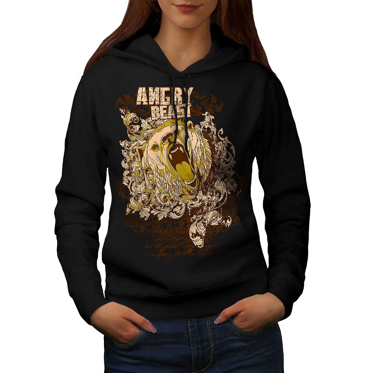Angry Bear Wild Animal Women Black Hoodie | Wellcoda