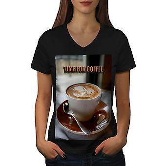 Coffee Time Art Cup kobiety BlackV szyi T-shirt | Wellcoda