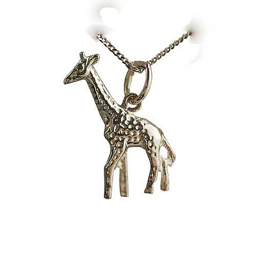9ct Gold 20x13mm Giraffe Pendant with a curb Chain 16 inches Only Suitable for Children