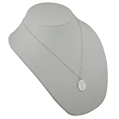 Silver 25x20mm oval medical alarm Disc with a curb Chain 22 inches