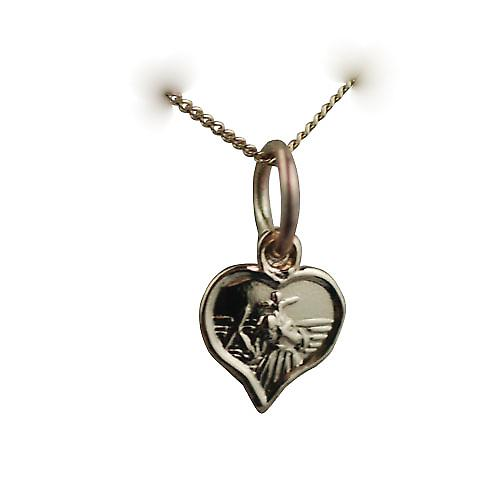9ct Gold 8mm heart St Christopher Charm with a curb Chain 16 inches Only Suitable for Children