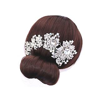 Accessory for wedding flowers in white Crystal hair comb