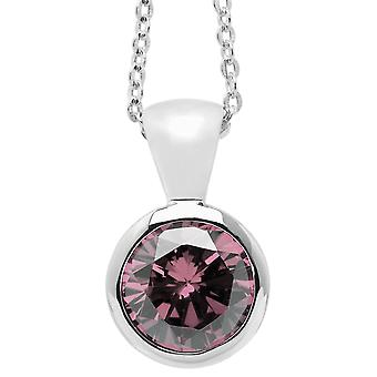 Burgmeister chain and pendant JBM1011-321, 925 sterling silver rhodanized, pink zirconia