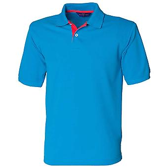Henbury Mens Contrast Colours 65/35 Short Sleeve Cotton Casual Polo Shirt