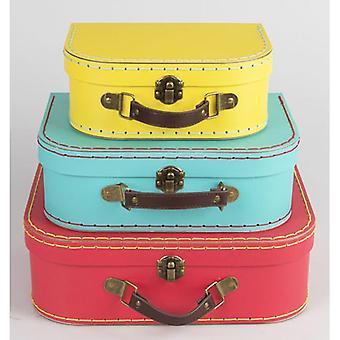 Lyse Retro Mini kofferter x 3-bryllup / Home Decoration rød blå gul