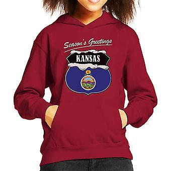 Seasons Greetings Kansas State Flag Christmas Kid's Hooded Sweatshirt