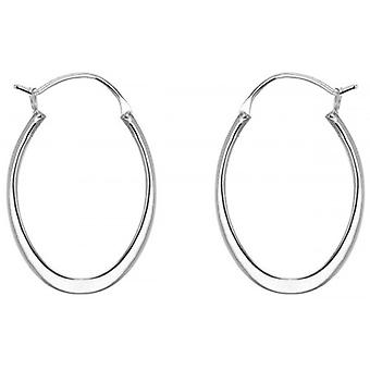 IBB London Oval Creole Earrings - Silver