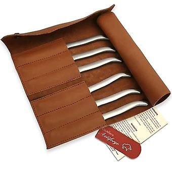 Leather clutch with 6 sandblasted flat stainless steel Laguiole steak knives Direct from France