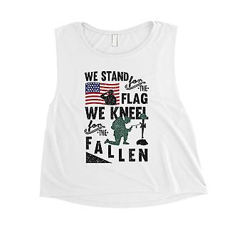 We Stand We Kneel Womens Cute White Crop Tank Top Memorial Day Gift