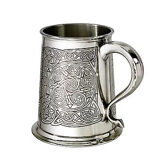 Celtic Spirals Embossed Pewter Tankard - 1 pint