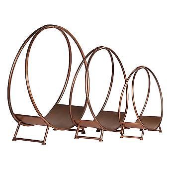 Hill Interiors Copper Effect Round Log Holders