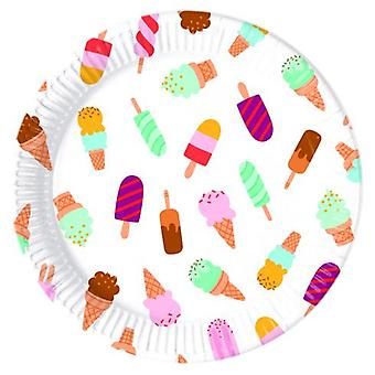 Ice cream ice cream party plates Ø 23 cm 8 piece children birthday theme party