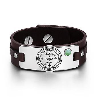 Ærkeenglen Michael Sigil magiske kræfter Amulet grøn ædelsten justerbar brun læder armbånd