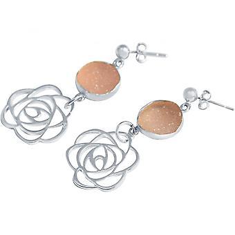 Dames - boucles d'oreilles - argent 925 - ART déco - fleur - rose--DRUZY - quartz - 4,5 cm