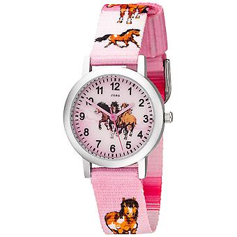 JOBO Kinder Armbanduhr Pferde rosa pink Aluminium Kinderuhr Pferdeuhr Mädchenuhr
