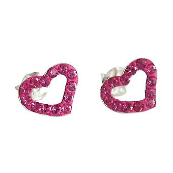 Ladies heart earrings 925 Silver Pink 1 cm