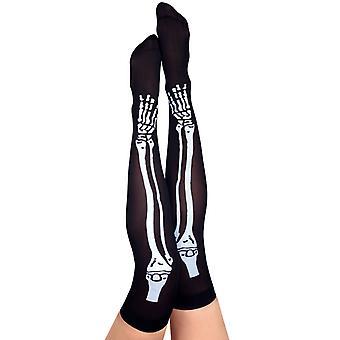 Overknees skeleton bone bones Halloween accessory black