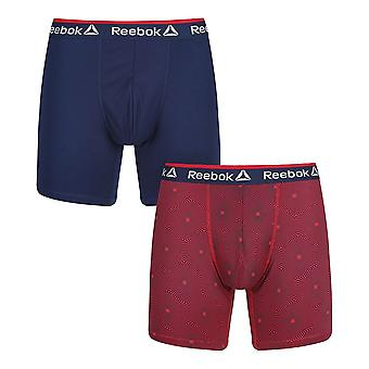 Reebok Gym Men's 2 Pack Performance Sports Boxer Trunks Navy Red Bruce