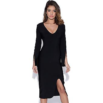 Black Tailored Bandage Dress