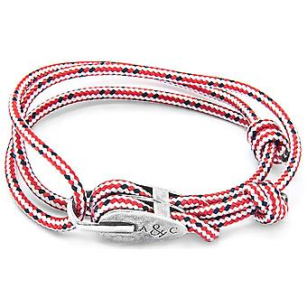 Anchor and Crew Tyne Silver and Rope Bracelet - Red Dash