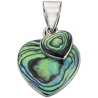 Beginnings Paua Shell Double Heart Pendant - Multi Colour/Silver