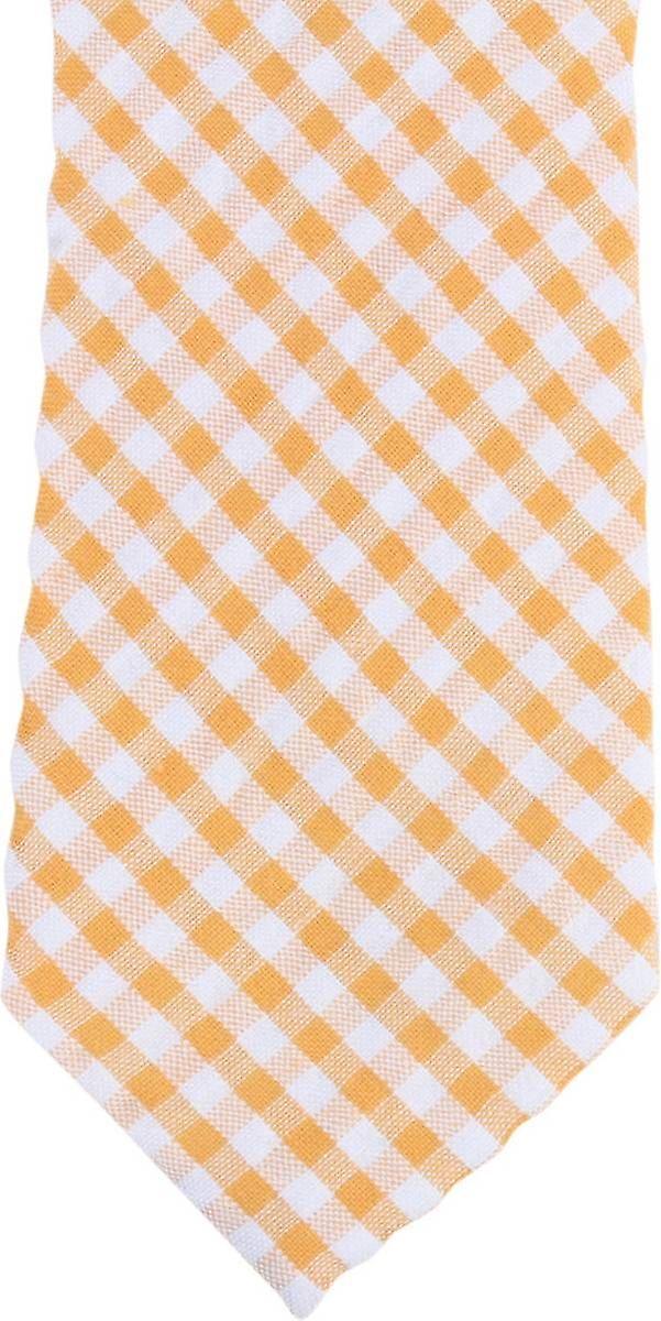 Knightsbridge cravates Gingham Checked Cotton Skinny cravate - jaune blanc