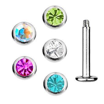 5 Ställ in paketet Labret Bar Stud Tragus Piercing 1,2 mm, sten | 6-8 mm | 5 färger