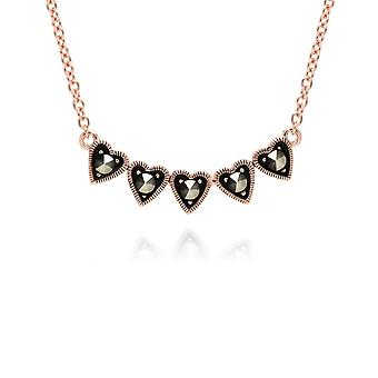 Gemondo Rose forgyldt Sterling sølv Marcasite fem hjerte Design 42cm halskæde
