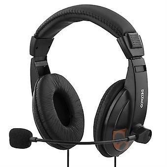DELTACO headset, sealed, volume control on the cable, 2 x 3, 5 mm, 2 m