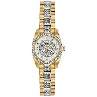 Bulova vrouwen twee Toon Crystal Set armband Dial 98 L 241 horloge