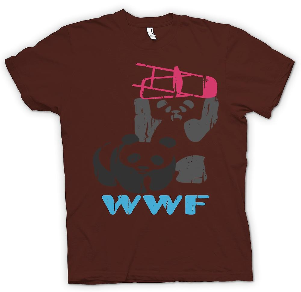 Mens T-shirt-Pandas WWF Wrestling - Smashing chaises