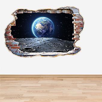 全彩地球和月亮粉碎墙3D效果墙贴纸