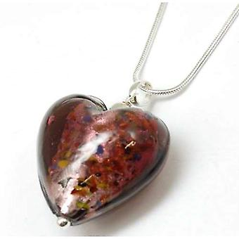 Toc Sterling Silver Mauve Speckled Murano Heart Pendant on 18 Inch Chain