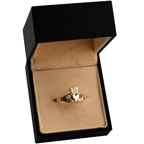 9ct Gold 9x24mm ladies Claddagh Ring Size Q
