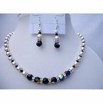 Swarovski Pearls & AB Jet Crystals Bridesmaid Bridal Jewelry