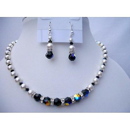 Swarovski Pearls & AB Jet Crystals Bridesmaid Bridal Jewelry
