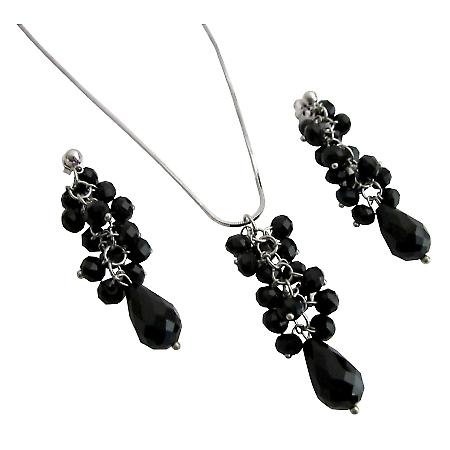 Sparkling Jet Glass Beads Cluster Pendant Earrings Teardrop Necklace