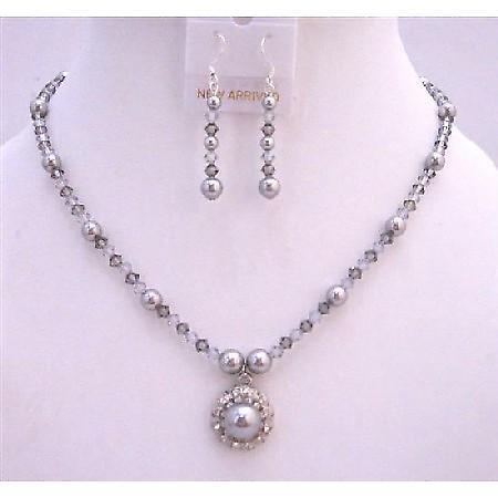 Black Diamond & Grey Crystals Bridal Jewelry w/ Flower Pearls Pendant