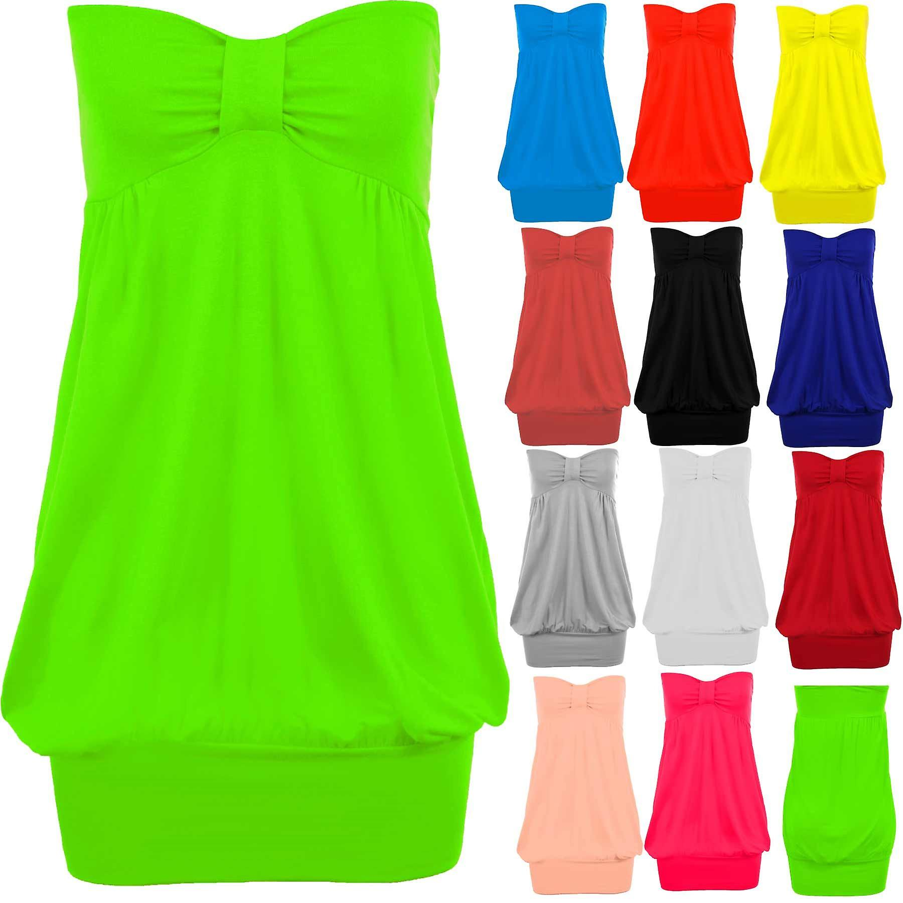 Ladies Boobtube Strapless Knot Plus Size Women's Bandeau Party Casual Top