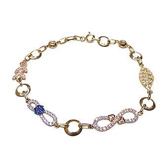 bracelet bicolor de 14 k avec zircon cubique