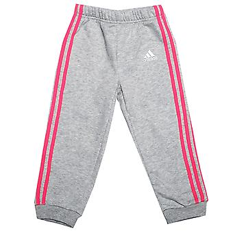 Baby Girls adidas Favourite Knit Jog Pants In Grey Heather- Ribbed Waist And
