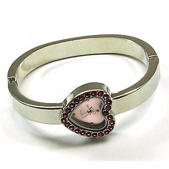 The Olivia Collection Silver Tone Cz Pink Heart Dial Ladies Dress Bangle Watch