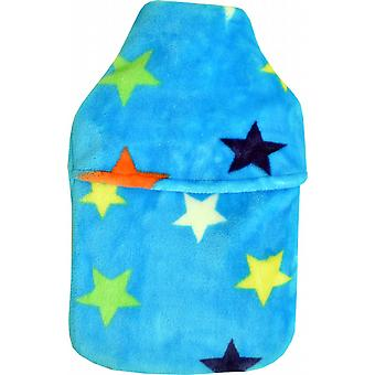 Cuddlesoft Plush Fleece 2L Hot Water Bottle: Blue Stars