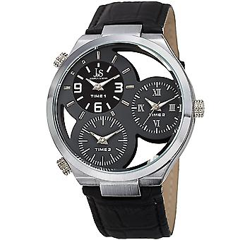 Joshua & Sons Men's JX119GY Two Time Zones Small Seconds Leather Strap Watch